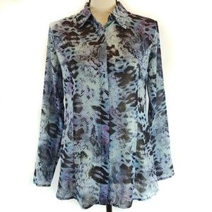 Cabi Top Blue Python Print Small Sheer long Sleeve
